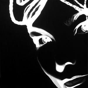 Touch Black (Bjork 2) acrilico su tela, 20 X 20 cm, 2007