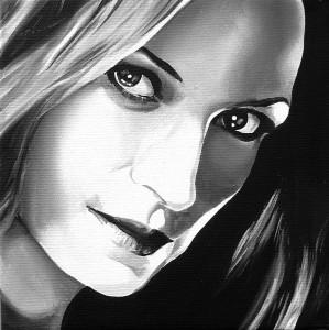 Touch Black (Famke Jansenn),acrilicosu tela, 20 X 20 cm, 2008