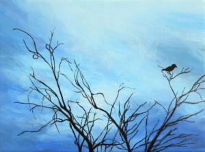 Birdtree 10, acrilico su tela, 24 X 18 cm., 2019