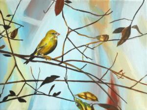 Birdtree 12, acrilico su tela, 24 X 18 cm., 2019