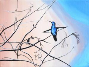 Birdtree 13, acrilico su tela, 24 X 18 cm., 2019