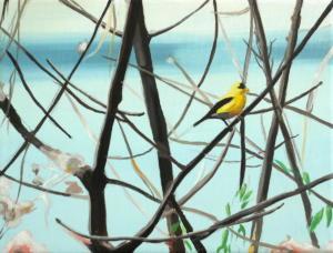 Birdtree 14, acrilico su tela, 24 X 18 cm., 2019