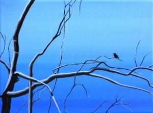 Birdtree 16, acrilico su tela, 24 X 18 cm., 2019