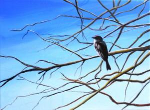 Birdtree 17, acrilico su tela, 24 X 18 cm., 2019