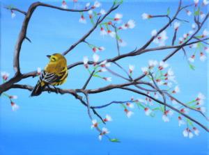 Birdtree 18, acrilico su tela, 24 X 18 cm., 2019