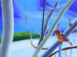Birdtree 19, acrilico su tela, 24 X 18 cm., 2019