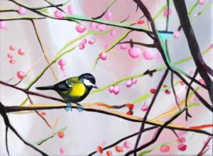 Birdtree 20, acrilico su tela, 24 X 18 cm., 2019