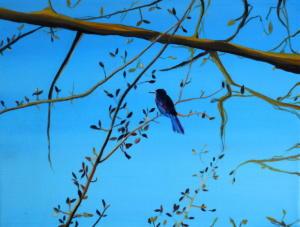 Birdtree 22, acrilico su tela, 24 X 18 cm., 2019