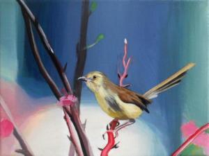Birdtree 28, acrilico su tela, 24 X 18 cm., 2019