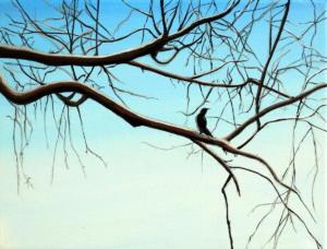Birdtree 3, acrilico su tela, 24 X 18 cm., 2019