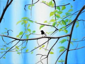 Birdtree 4, acrilico su tela, 24 X 18 cm., 2019