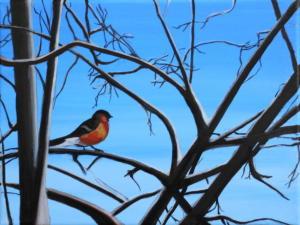 Birdtree 5, acrilico su tela, 24 X 18 cm., 2019