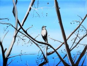 Birdtree 6, acrilico su tela, 24 X 18 cm., 2019