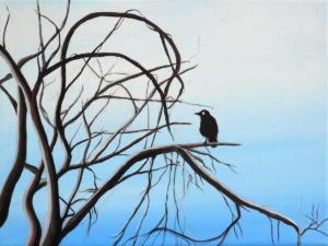 Birdtree 7, acrilico su tela, 24 X 18 cm., 2019