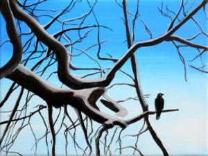 Birdtree 8, acrilico su tela, 24 X 18 cm., 2019
