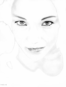 White Noise (Stefania), matita su carta, 40 X 30 cm, 2008