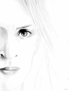 White Noise (Uma), matita su carta, 40 x 30 cm, 2008