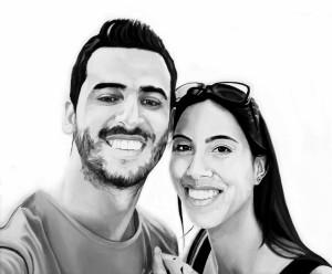 Fabio e Michela, acrilico su tela, 60 X 50 cm., 2016