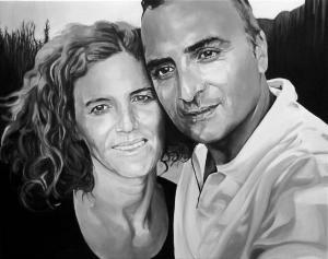 Sandra e Antonio, acrilico su tela, 50 X 50 cm., 2017