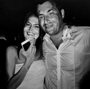 Simona e Paolo, acrilico su tela, 100 X 100 cm., 2017
